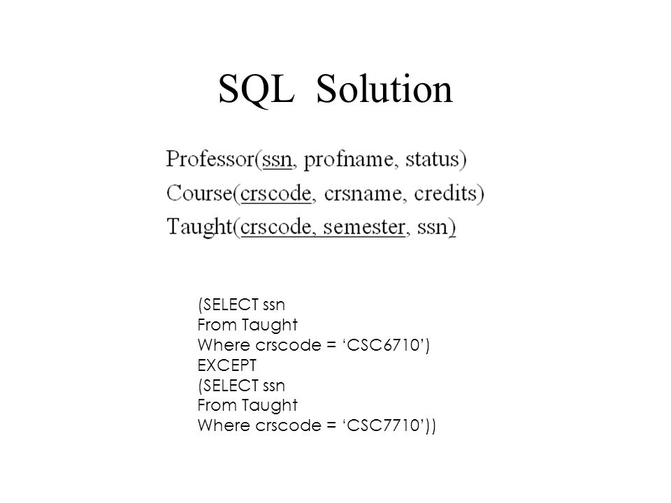 Relational Algebra Solution  crscode (Course)-  crscode (Taught)