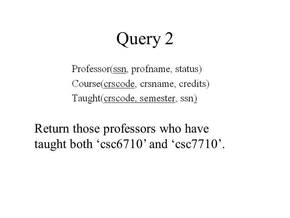 SQL Solution SELECT P.profname FROM Professor P, Taught T WHERE P.status = 'full' AND P.ssn = T.ssn AND T.crscode = 'CSC6710'