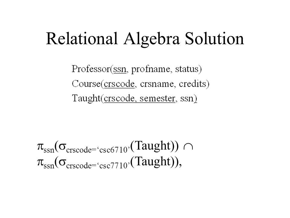 Relational Algebra Solution  ssn (  crscode='csc6710' (Taught))   ssn (  crscode='csc7710' (Taught)),
