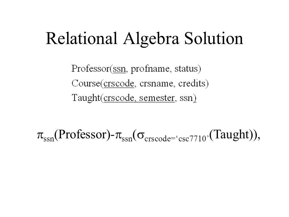 Relational Algebra Solution  ssn (Professor)-  ssn (  crscode='csc7710' (Taught)),
