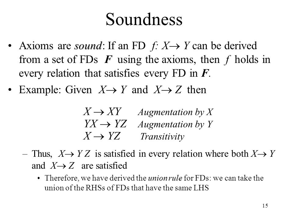 15 Soundness soundAxioms are sound: If an FD f: X  Y can be derived from a set of FDs F using the axioms, then f holds in every relation that satisfi
