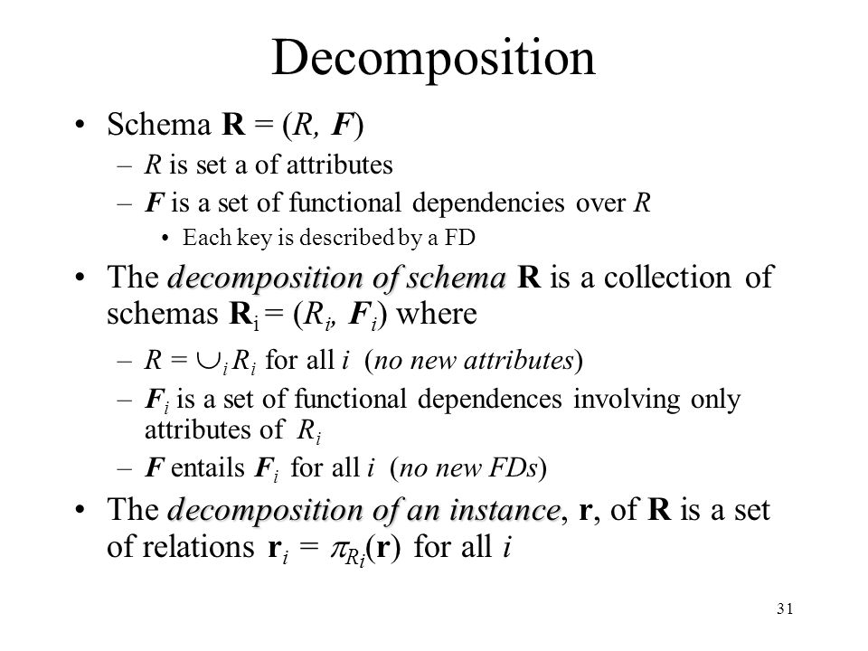 31 Decomposition Schema R = (R, F) –R is set a of attributes –F is a set of functional dependencies over R Each key is described by a FD decomposition