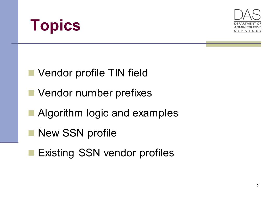43 Adding Individuals with an SSN Prefix 3 When SFMS reviews the vendor for activation, the vendor will be TIN Matched with the IRS If the vendor comes back as a match and an SSN, SFMS will activate the vendor and change the vendor type to 7 , these vendors no longer receive W-9s, this process has not changed If the vendor comes back and is not a match, SFMS will not activate the vendor, this process has not changed If the vendor comes back as a match, but the TIN is an FEIN instead of an SSN, SFMS will set up a new profile beginning with a 1 and the FEIN SFMS will not activate the original vendor and will put a message on the original indicating the new vendor #