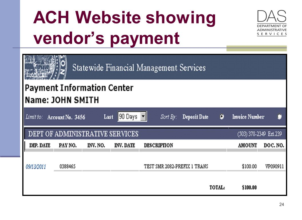 ACH Website showing vendor's payment 24