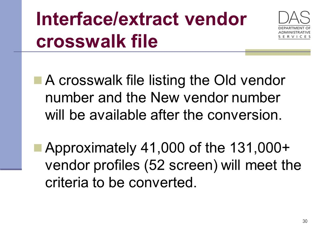 30 Interface/extract vendor crosswalk file A crosswalk file listing the Old vendor number and the New vendor number will be available after the conversion.