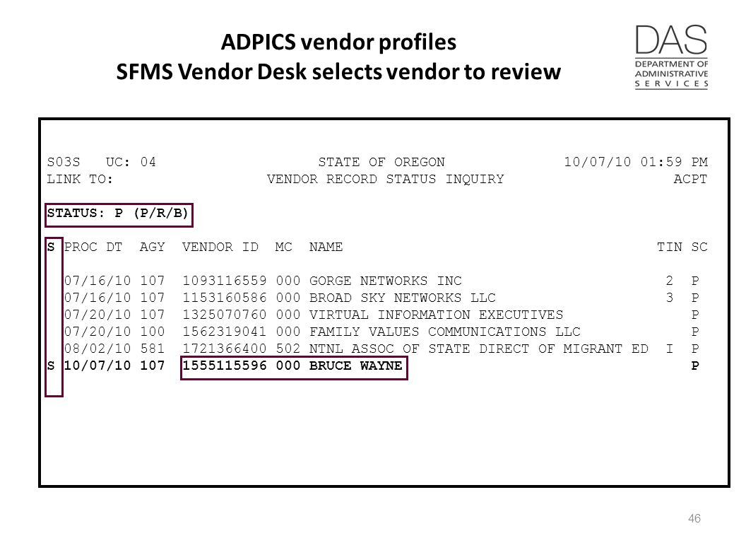 ADPICS vendor profiles SFMS Vendor Desk selects vendor to review S03S UC: 04 STATE OF OREGON 10/07/10 01:59 PM LINK TO: VENDOR RECORD STATUS INQUIRY ACPT STATUS: P (P/R/B) S PROC DT AGY VENDOR ID MC NAME TIN SC 07/16/10 107 1093116559 000 GORGE NETWORKS INC 2 P 07/16/10 107 1153160586 000 BROAD SKY NETWORKS LLC 3 P 07/20/10 107 1325070760 000 VIRTUAL INFORMATION EXECUTIVES P 07/20/10 100 1562319041 000 FAMILY VALUES COMMUNICATIONS LLC P 08/02/10 581 1721366400 502 NTNL ASSOC OF STATE DIRECT OF MIGRANT ED I P S 10/07/10 107 1555115596 000 BRUCE WAYNE P 46
