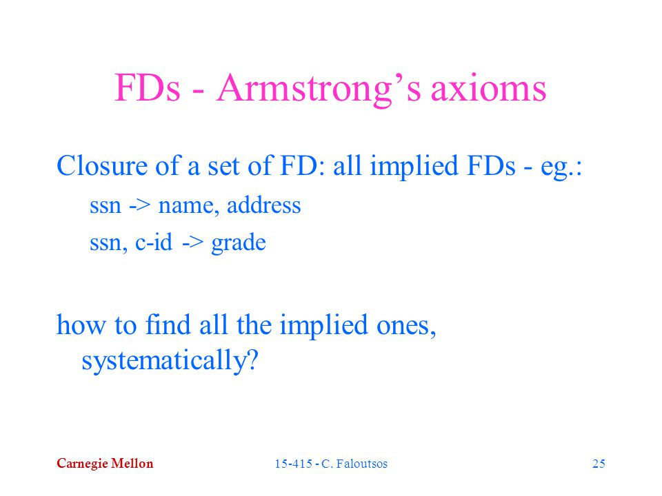 Carnegie Mellon 15-415 - C. Faloutsos25 FDs - Armstrong's axioms Closure of a set of FD: all implied FDs - eg.: ssn -> name, address ssn, c-id -> grad