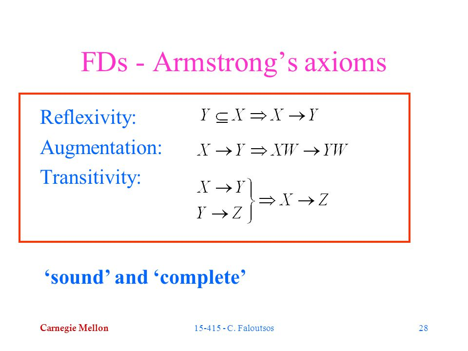 Carnegie Mellon 15-415 - C. Faloutsos28 FDs - Armstrong's axioms Reflexivity: Augmentation: Transitivity: 'sound' and 'complete'