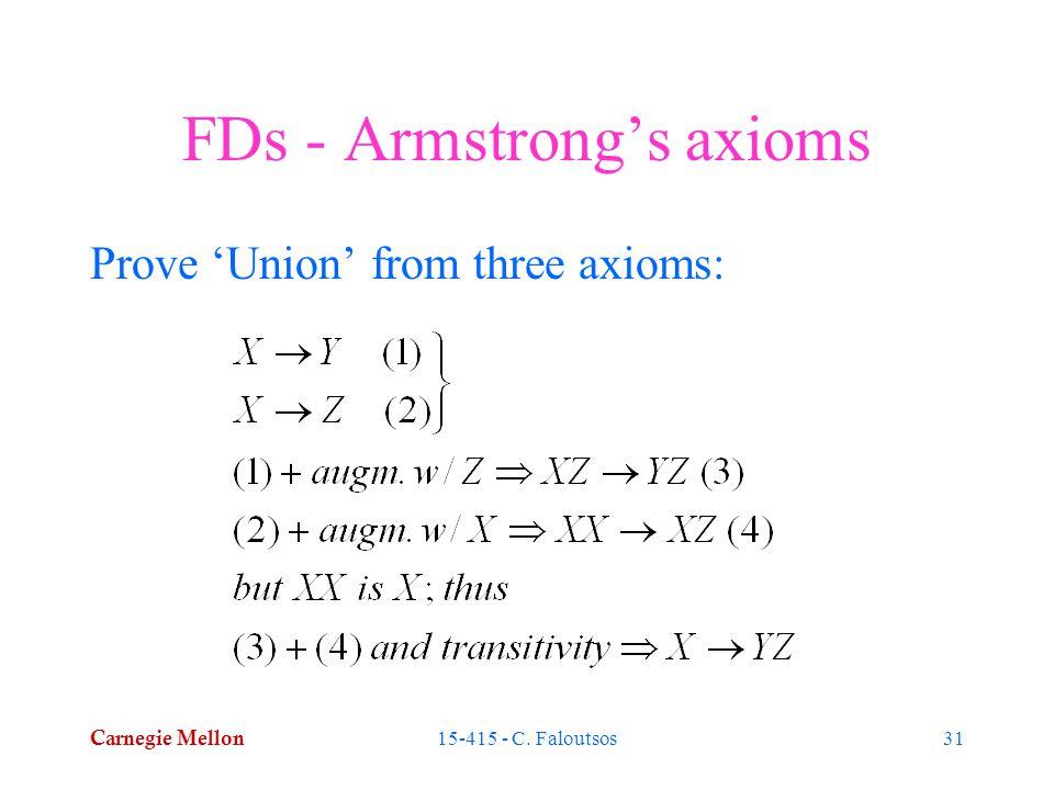 Carnegie Mellon 15-415 - C. Faloutsos31 FDs - Armstrong's axioms Prove 'Union' from three axioms: