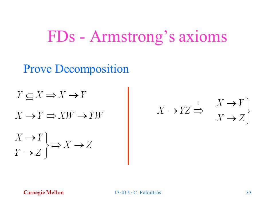 Carnegie Mellon 15-415 - C. Faloutsos33 FDs - Armstrong's axioms Prove Decomposition