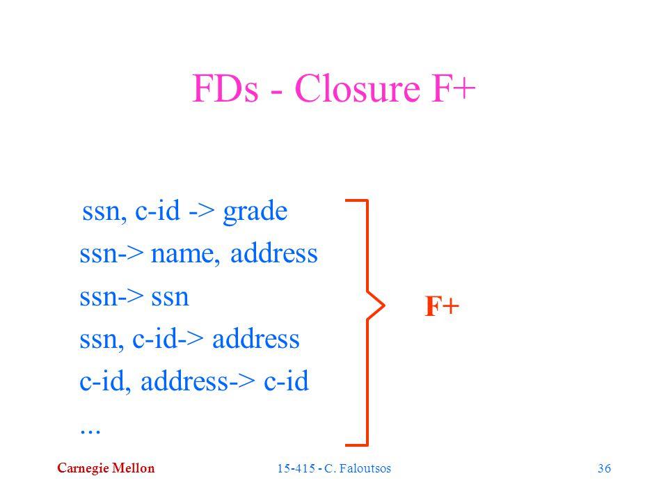 Carnegie Mellon 15-415 - C. Faloutsos36 FDs - Closure F+ ssn, c-id -> grade ssn-> name, address ssn-> ssn ssn, c-id-> address c-id, address-> c-id...