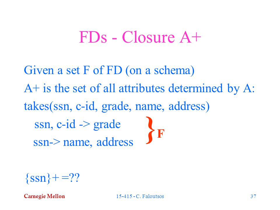 Carnegie Mellon 15-415 - C. Faloutsos37 FDs - Closure A+ Given a set F of FD (on a schema) A+ is the set of all attributes determined by A: takes(ssn,