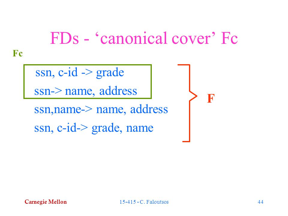 Carnegie Mellon 15-415 - C. Faloutsos44 FDs - 'canonical cover' Fc ssn, c-id -> grade ssn-> name, address ssn,name-> name, address ssn, c-id-> grade,
