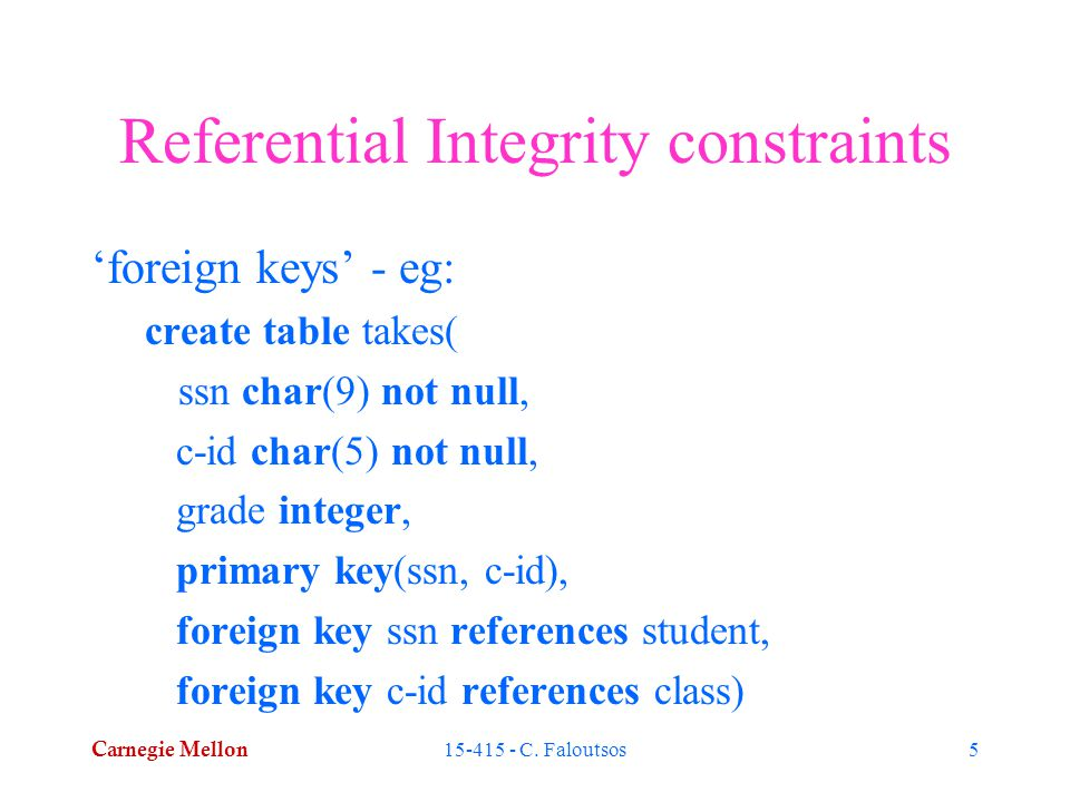 Carnegie Mellon 15-415 - C. Faloutsos5 Referential Integrity constraints 'foreign keys' - eg: create table takes( ssn char(9) not null, c-id char(5) n