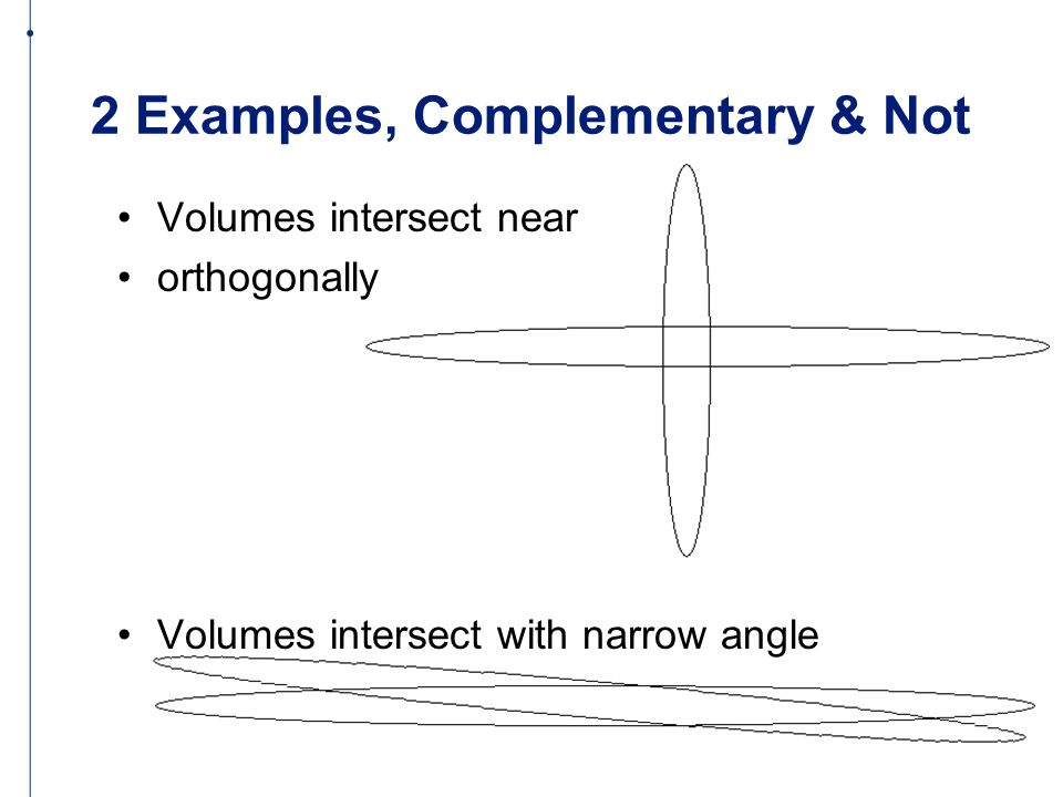 2 Examples, Complementary & Not Volumes intersect near orthogonally Volumes intersect with narrow angle