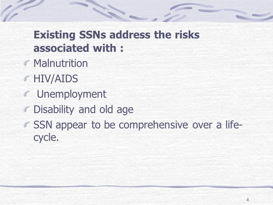 4 Existing SSNs address the risks associated with : Malnutrition HIV/AIDS Unemployment Disability and old age SSN appear to be comprehensive over a life- cycle.