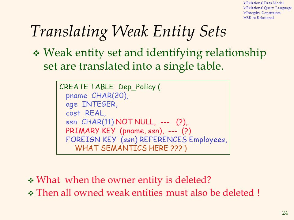 24  Relational Data Model  Relational Query Language  Integrity Constraints  ER to Relational Translating Weak Entity Sets  Weak entity set and identifying relationship set are translated into a single table.