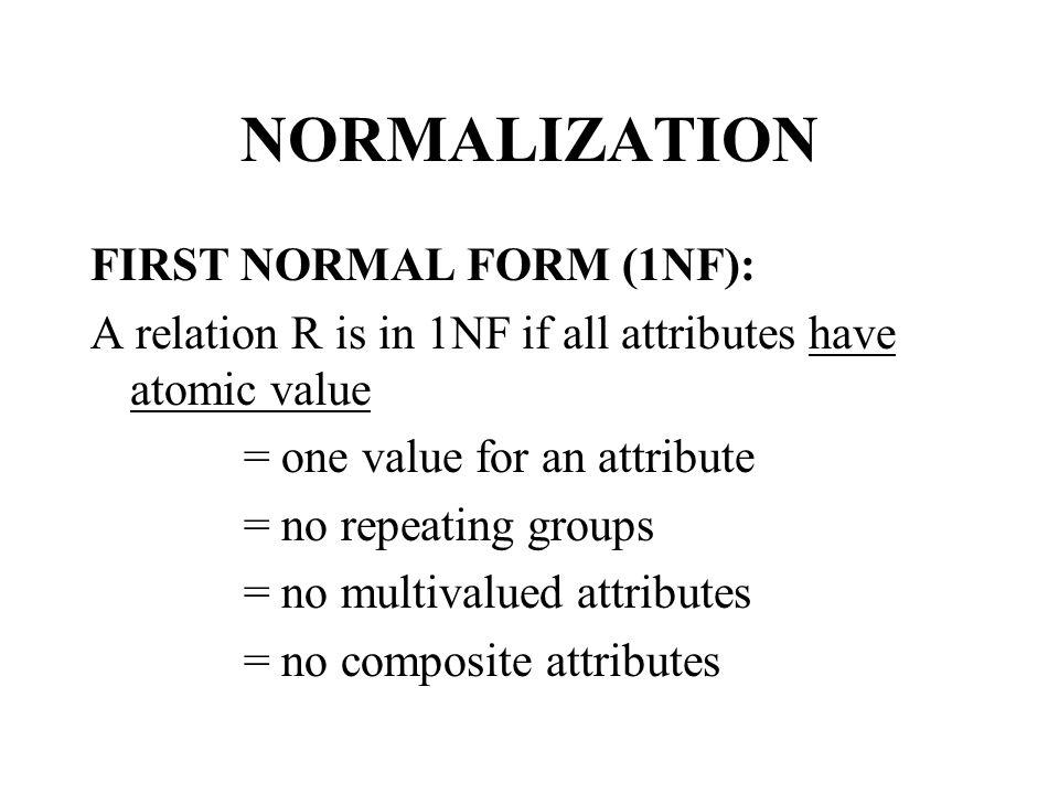 Example Non-1NF EMP (E#, ENAME, SKILL).Here SKILL is a multi-valued attribute.