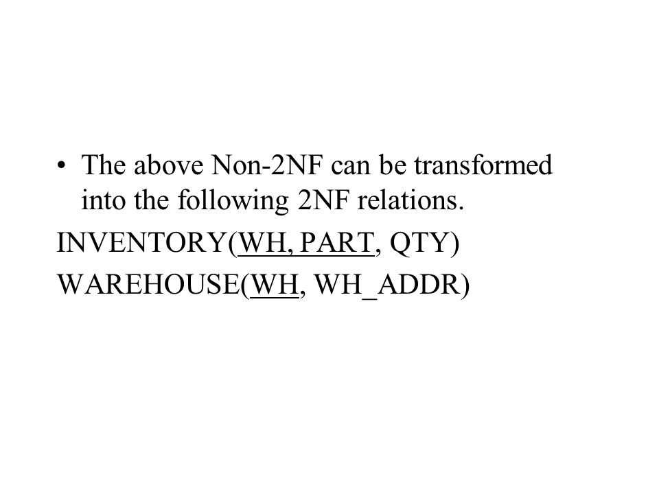 The above Non-2NF can be transformed into the following 2NF relations.