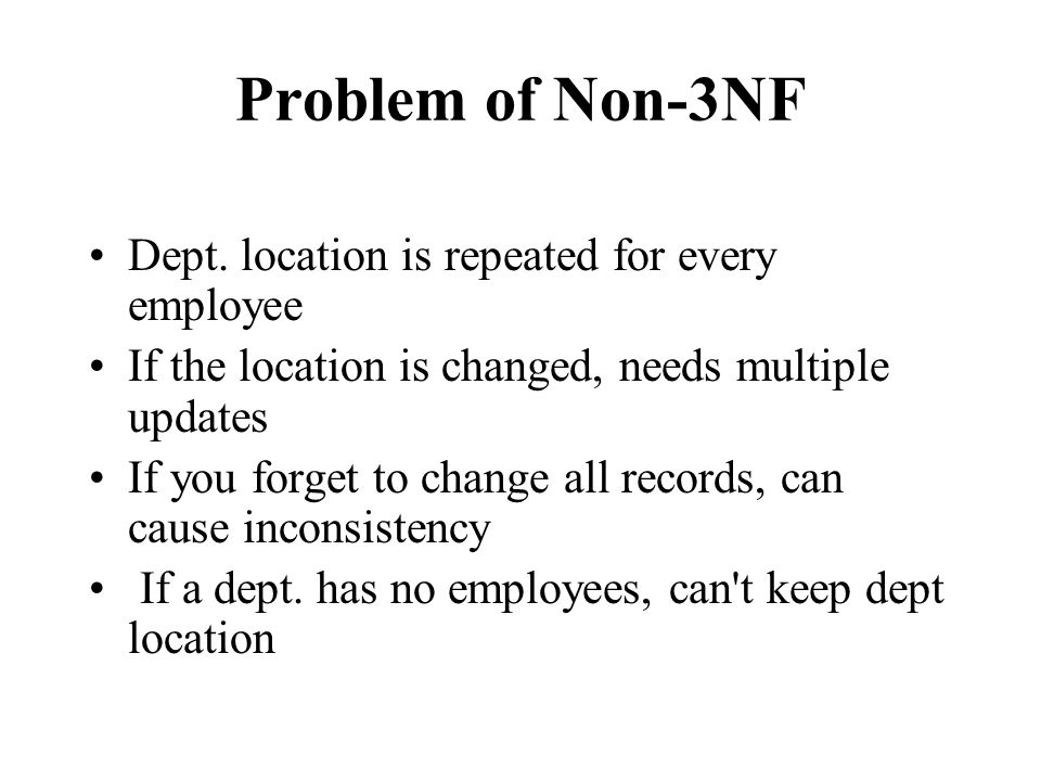 Problem of Non-3NF Dept.