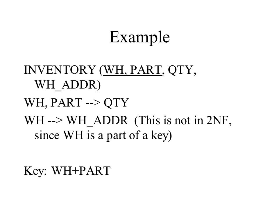 Example INVENTORY (WH, PART, QTY, WH_ADDR) WH, PART --> QTY WH --> WH_ADDR (This is not in 2NF, since WH is a part of a key) Key: WH+PART