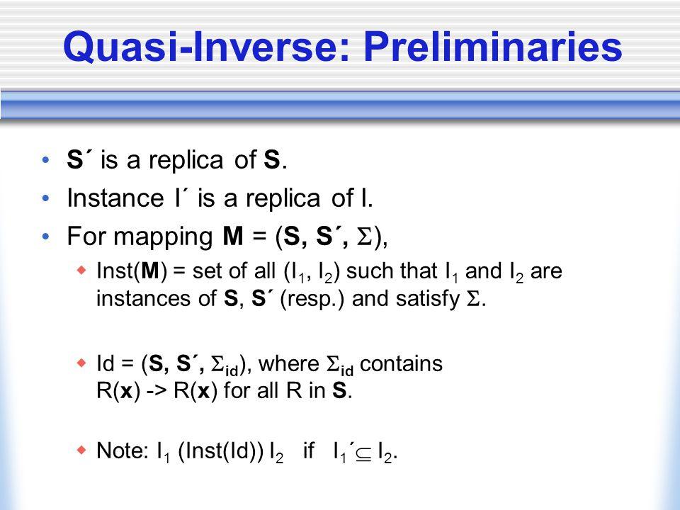 Quasi-Inverse: Preliminaries S´ is a replica of S.