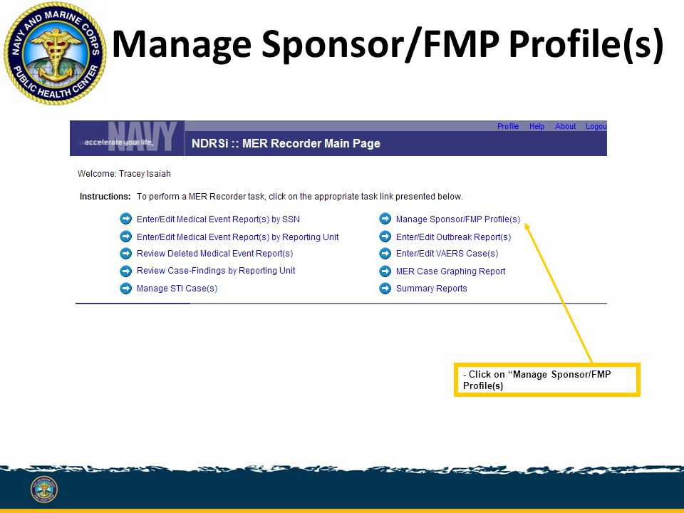 Manage Sponsor/FMP Profile(s) - Click on Manage Sponsor/FMP Profile(s)