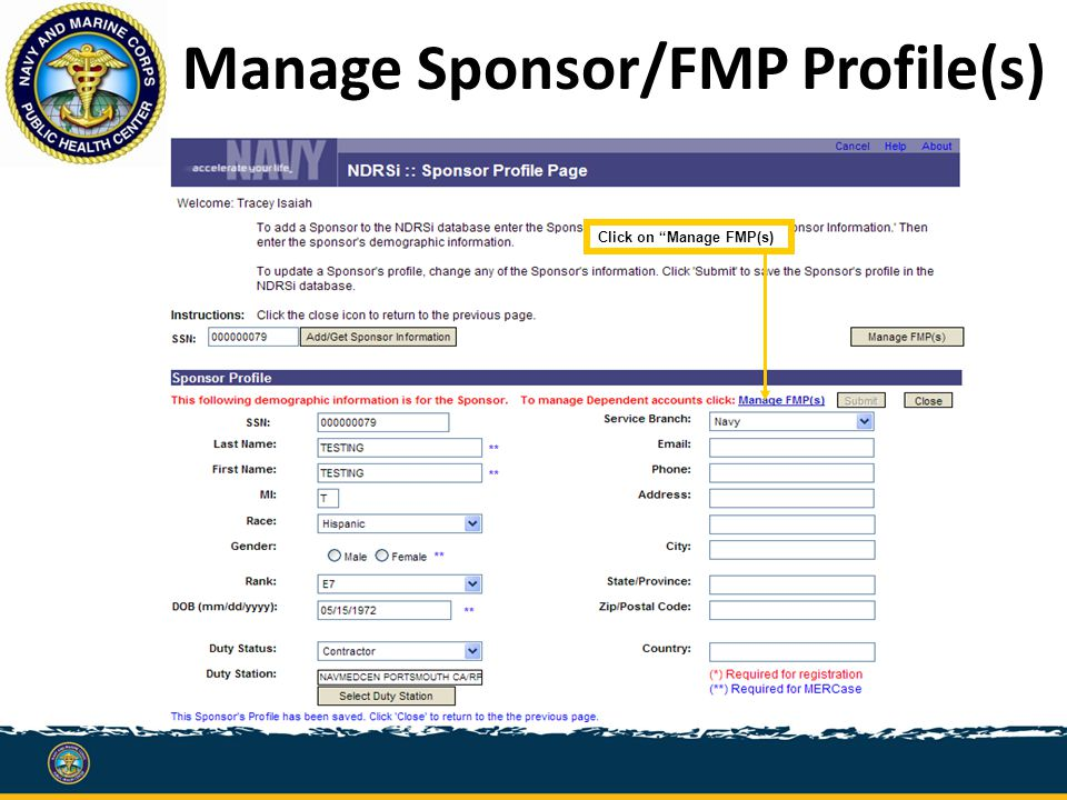 Manage Sponsor/FMP Profile(s) Click on Manage FMP(s)