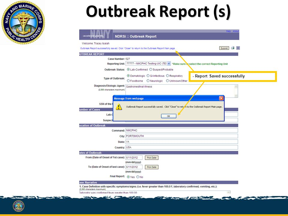 Outbreak Report (s) - Report Saved successfully