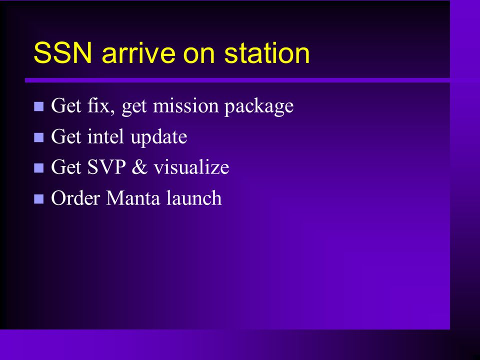 SSN arrive on station n Get fix, get mission package n Get intel update n Get SVP & visualize n Order Manta launch