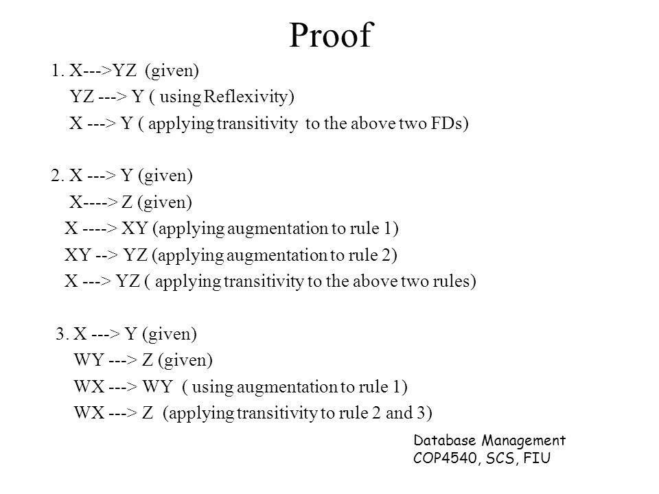 Database Management COP4540, SCS, FIU Proof 1.