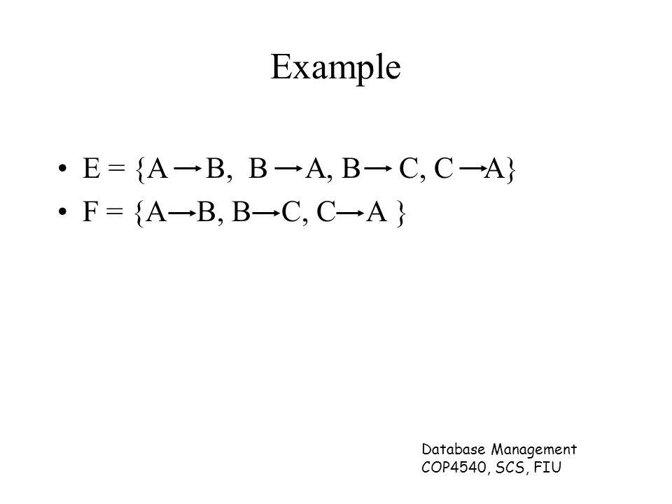 Database Management COP4540, SCS, FIU Example E = {A B, B A, B C, C A} F = {A B, B C, C A }