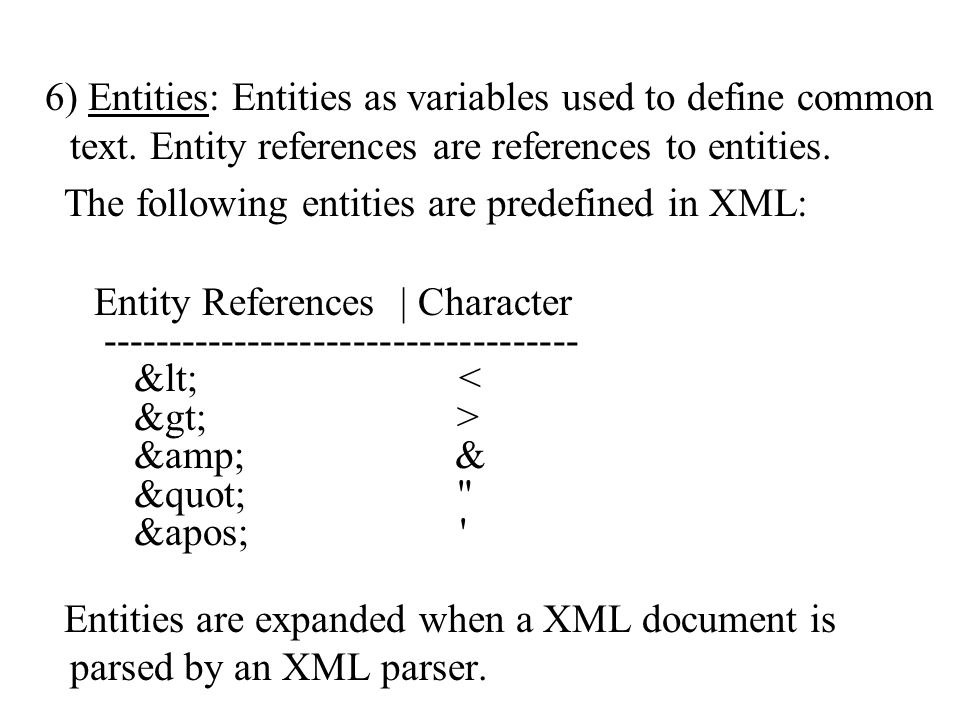 6) Entities: Entities as variables used to define common text.