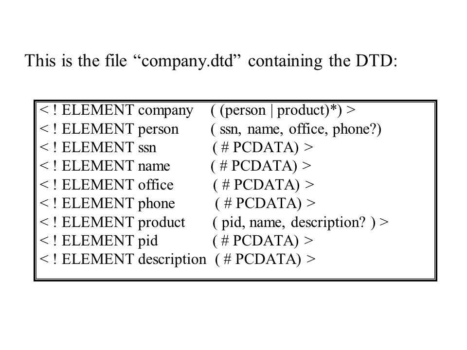 This is the file company.dtd containing the DTD: < ! ELEMENT person ( ssn, name, office, phone?)