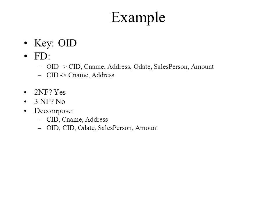 Example Key: OID FD: –OID -> CID, Cname, Address, Odate, SalesPerson, Amount –CID -> Cname, Address 2NF.