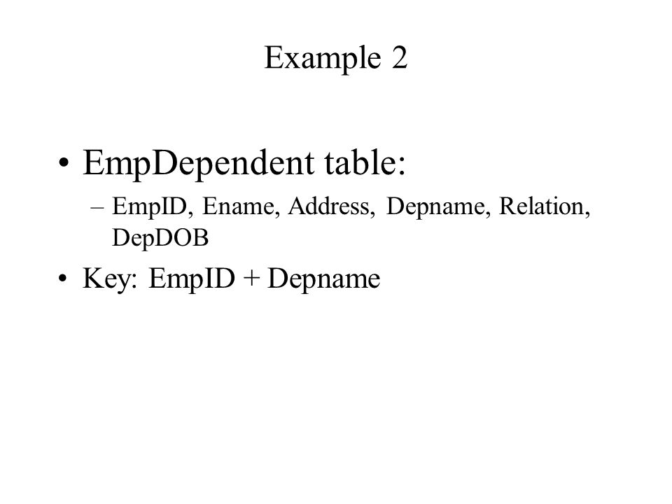 If we mix two entities with 1:M relationship in one table FacultyStudent table: –Faculty Advise Student: 1:M relationship –FID, Fname, SID, Sname, SAddress Key: SID Duplication?