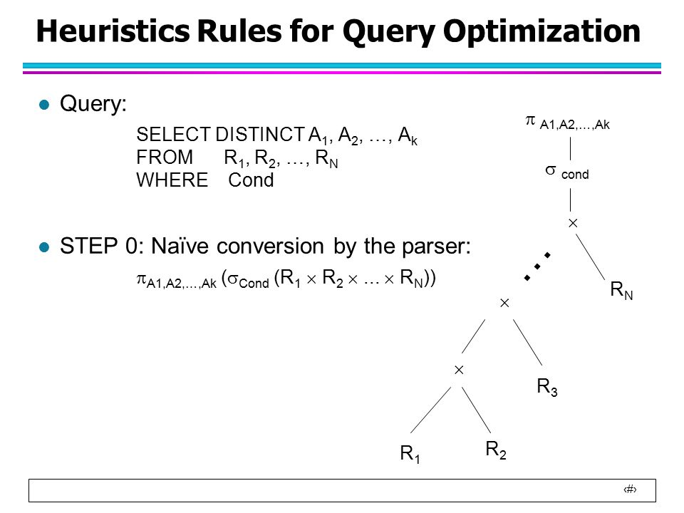 10 Heuristics Rules for Query Optimization l Query: SELECT DISTINCT A 1, A 2, …, A k FROM R 1, R 2, …, R N WHERE Cond l STEP 0: Naïve conversion by the parser:  A1,A2,…,Ak (  Cond (R 1  R 2 ...