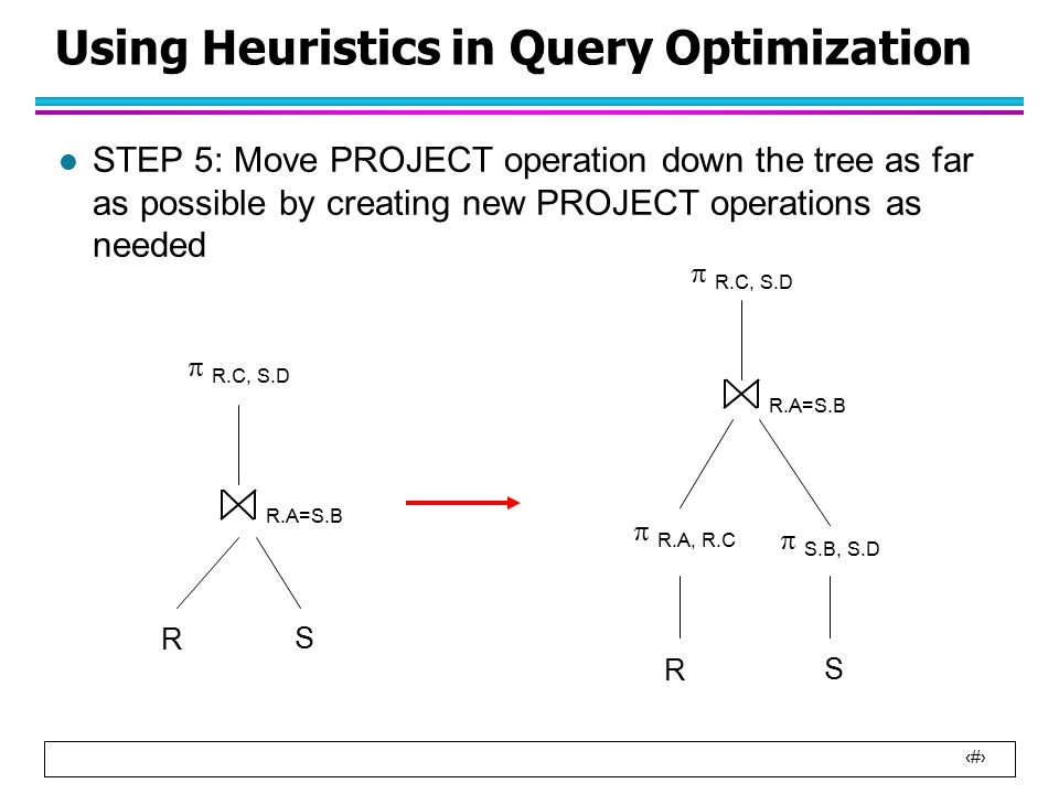 18 Using Heuristics in Query Optimization l STEP 5: Move PROJECT operation down the tree as far as possible by creating new PROJECT operations as needed R.A=S.B R S  R.C, S.D R S R.A=S.B  R.A, R.C  S.B, S.D  R.C, S.D