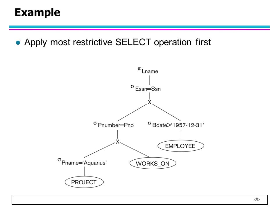 21 Example l Apply most restrictive SELECT operation first