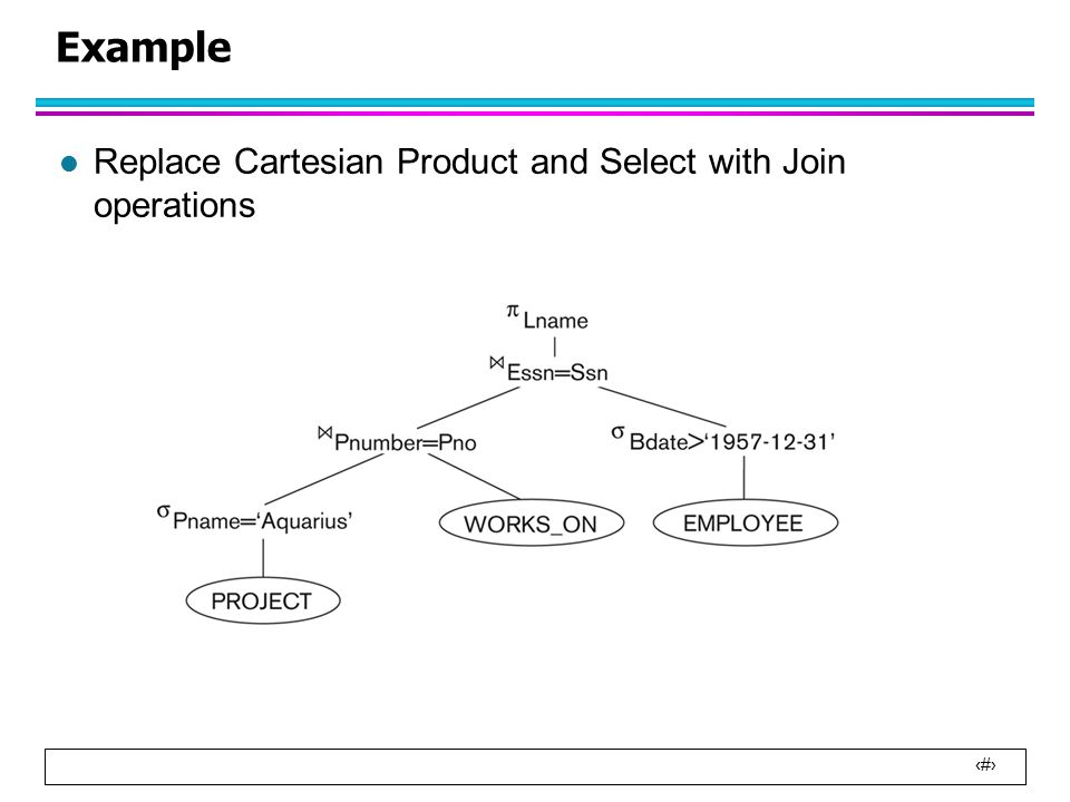 2 Example l Replace Cartesian Product and Select with Join operations