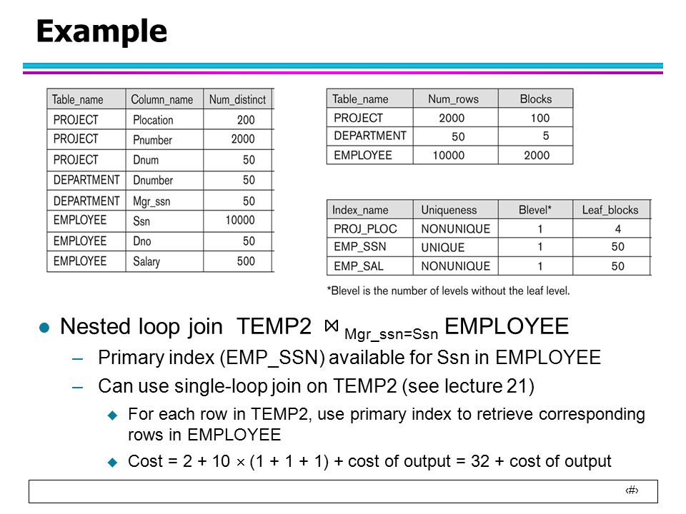 3 Example l Nested loop join TEMP2 Mgr_ssn=Ssn EMPLOYEE –Primary index (EMP_SSN) available for Ssn in EMPLOYEE –Can use single-loop join on TEMP2 (see lecture 21)  For each row in TEMP2, use primary index to retrieve corresponding rows in EMPLOYEE  Cost = 2 + 10  (1 + 1 + 1) + cost of output = 32 + cost of output