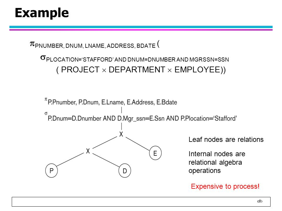29 Example l Cost for  Plocation = 'Stafford' (PROJECT) DEPARTMENT –No index available to process the join –We use the nested loop join