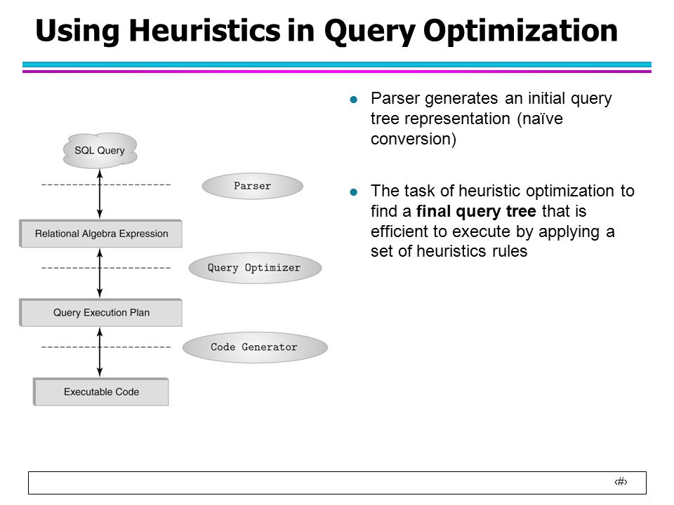 9 Using Heuristics in Query Optimization l Parser generates an initial query tree representation (naïve conversion) l The task of heuristic optimization to find a final query tree that is efficient to execute by applying a set of heuristics rules