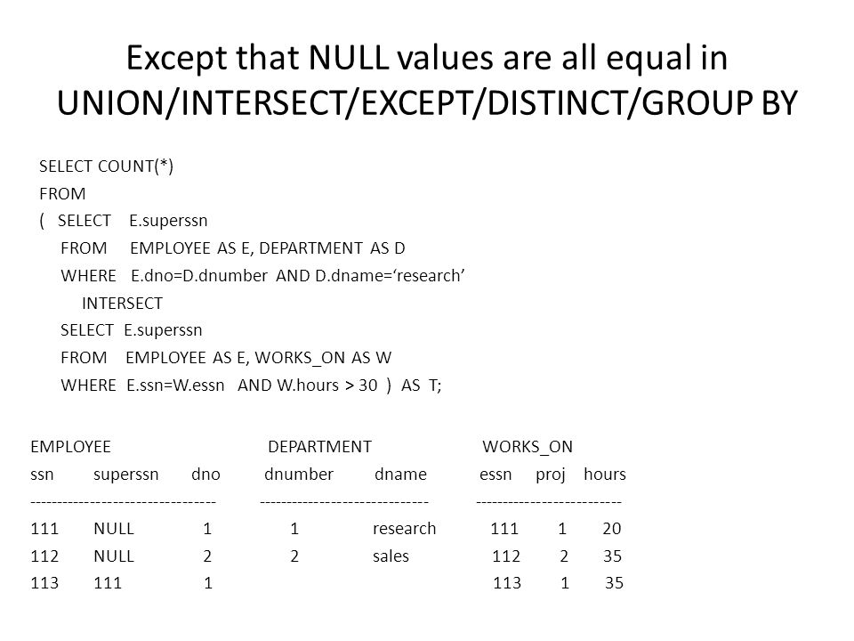 Except that NULL values are all equal in UNION/INTERSECT/EXCEPT/DISTINCT/GROUP BY SELECT COUNT(*) FROM ( SELECT E.superssn FROM EMPLOYEE AS E, DEPARTMENT AS D WHERE E.dno=D.dnumber AND D.dname='research' INTERSECT SELECT E.superssn FROM EMPLOYEE AS E, WORKS_ON AS W WHERE E.ssn=W.essn AND W.hours > 30 ) AS T; EMPLOYEE DEPARTMENT WORKS_ON ssn superssn dno dnumber dname essn proj hours --------------------------------- ------------------------------ -------------------------- 111 NULL 1 1 research 111 1 20 112 NULL 2 2 sales 112 2 35 113 111 1 113 1 35