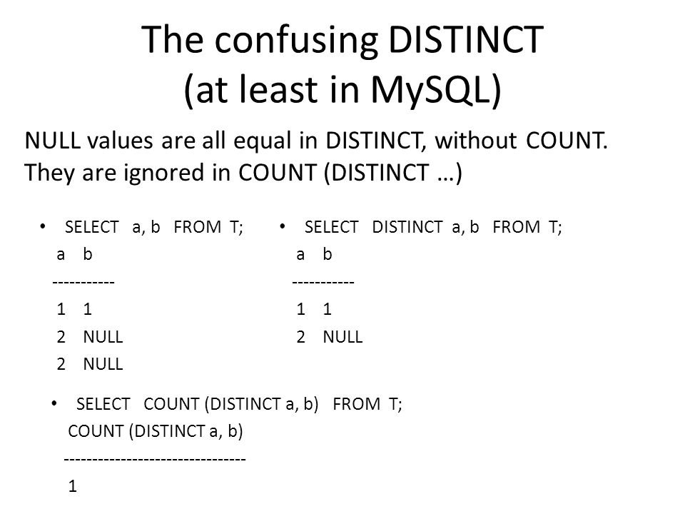 The confusing DISTINCT (at least in MySQL) SELECT a, b FROM T; a b ----------- 1 1 2 NULL SELECT DISTINCT a, b FROM T; a b ----------- 1 1 2 NULL SELECT COUNT (DISTINCT a, b) FROM T; COUNT (DISTINCT a, b) -------------------------------- 1 NULL values are all equal in DISTINCT, without COUNT.