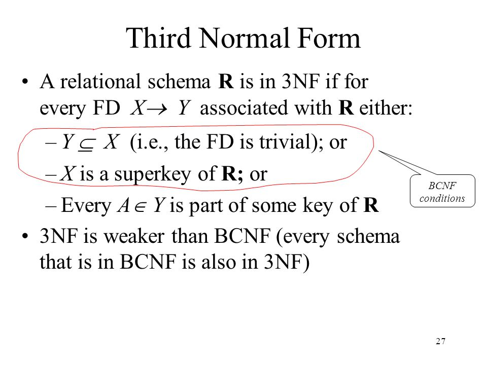 27 Third Normal Form A relational schema R is in 3NF if for every FD X  Y associated with R either: –Y  X (i.e., the FD is trivial); or –X is a superkey of R; or –Every A  Y is part of some key of R 3NF is weaker than BCNF (every schema that is in BCNF is also in 3NF) BCNF conditions
