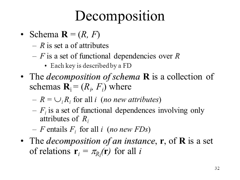 32 Decomposition Schema R = (R, F) –R is set a of attributes –F is a set of functional dependencies over R Each key is described by a FD decompositionof schemaThe decomposition of schema R is a collection of schemas R i = (R i, F i ) where –R =  i R i for all i (no new attributes) –F i is a set of functional dependences involving only attributes of R i –F entails F i for all i (no new FDs) decomposition of an instanceThe decomposition of an instance, r, of R is a set of relations r i =  R i (r) for all i