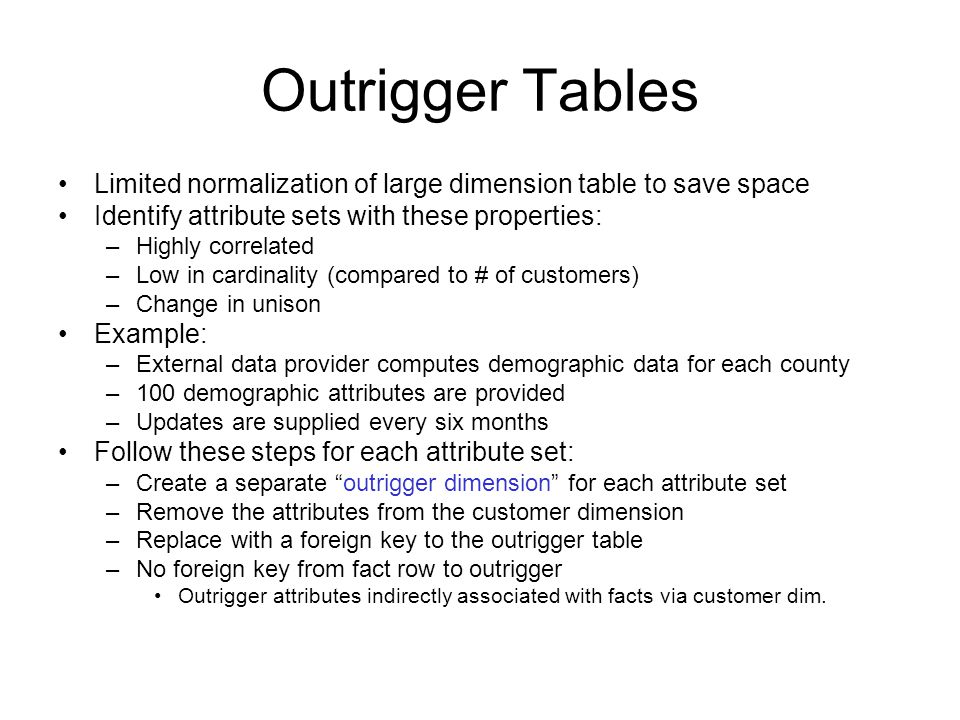 Outrigger Tables Limited normalization of large dimension table to save space Identify attribute sets with these properties: –Highly correlated –Low in cardinality (compared to # of customers) –Change in unison Example: –External data provider computes demographic data for each county –100 demographic attributes are provided –Updates are supplied every six months Follow these steps for each attribute set: –Create a separate outrigger dimension for each attribute set –Remove the attributes from the customer dimension –Replace with a foreign key to the outrigger table –No foreign key from fact row to outrigger Outrigger attributes indirectly associated with facts via customer dim.