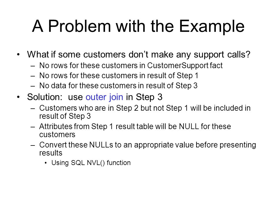 A Problem with the Example What if some customers don't make any support calls.