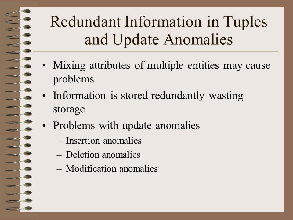 Redundant Information in Tuples and Update Anomalies Mixing attributes of multiple entities may cause problems Information is stored redundantly wasting storage Problems with update anomalies –Insertion anomalies –Deletion anomalies –Modification anomalies